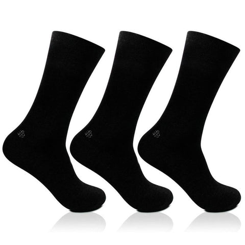 Men's Cotton Odour Free Black Plain Full Length Socks- Pack of 3