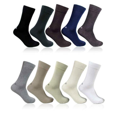 Men's Cotton Odour Free Multicolored Plain Socks- Pack of 10