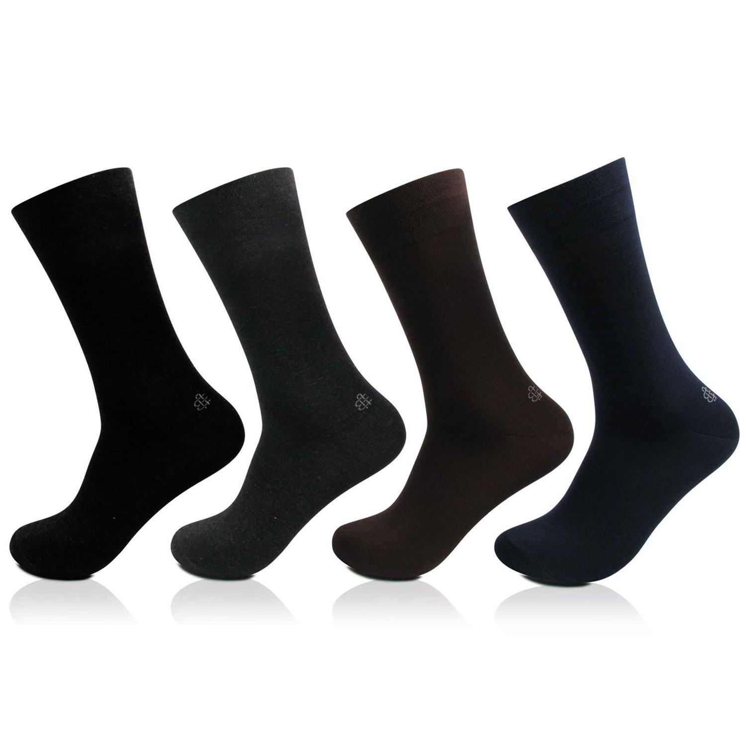Men's Cotton Odour Free Multicolored Plain Socks- Pack of 4