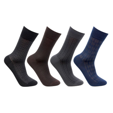 Men's Mercerised Self Design Formal Dress Socks- Pack of 4
