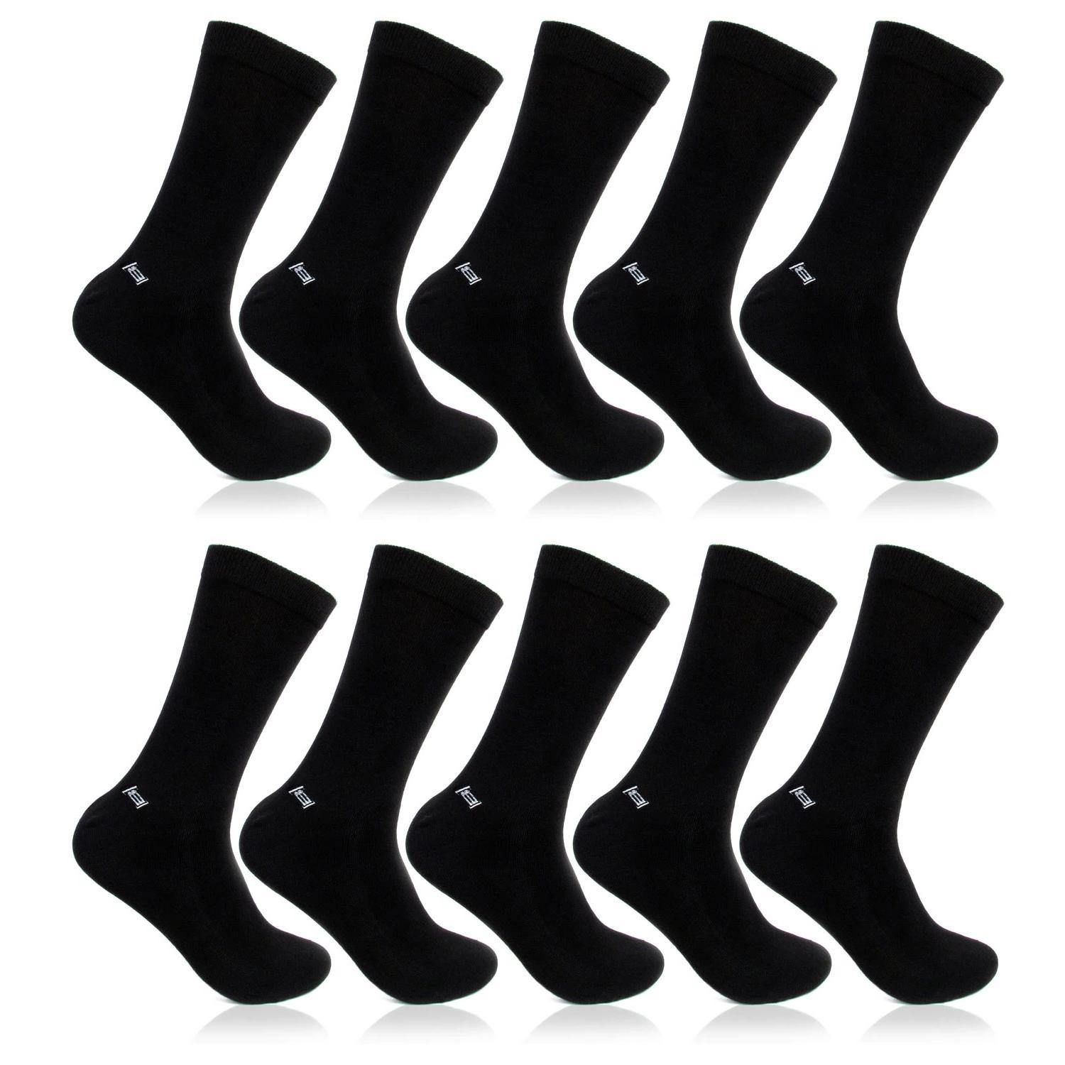 Men's Cotton Odour Free Multicoloured Plain Full Length Socks- Pack of 10