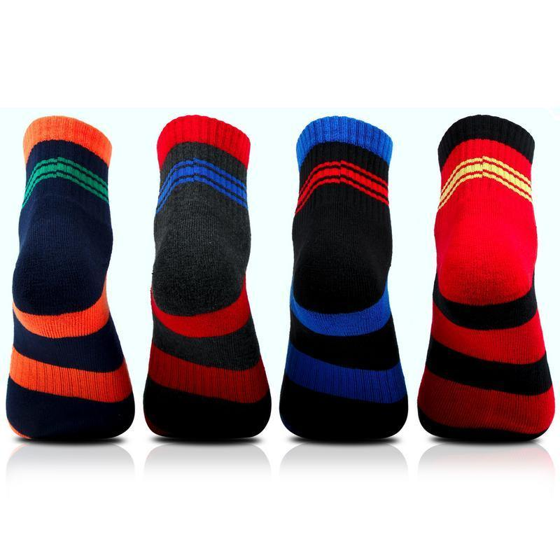 Men's Cushioned Multicolored Ankle Sports Socks- Pack of 4