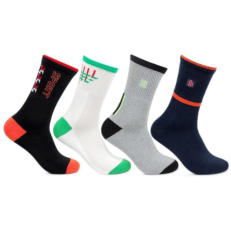 Men's Cushioned Multicoloured Joggers Quarter Ankle Sports Socks- Pack of 4