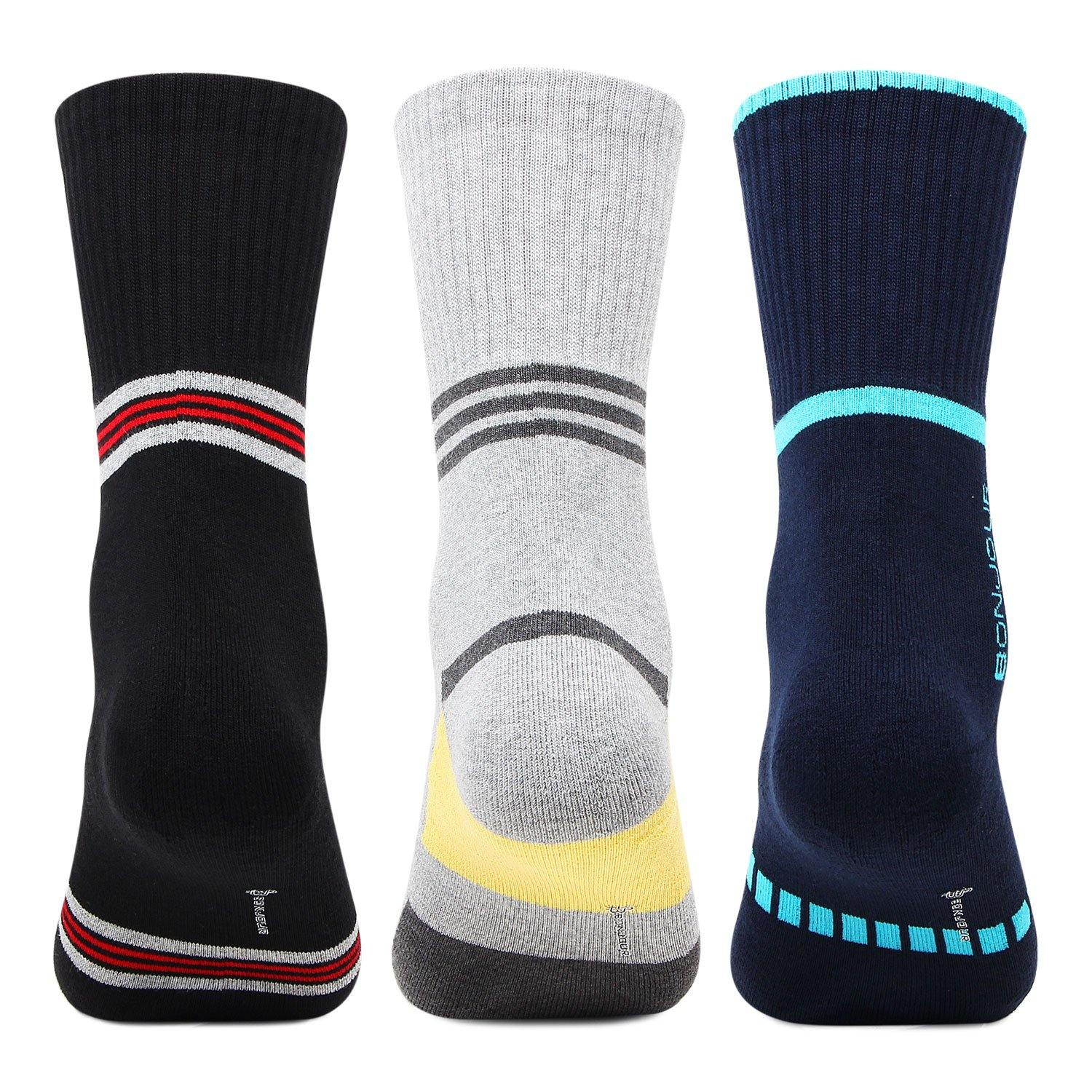 Men's Cushioned Crew  Sports Socks - Pack Of 3 - Bonjour Group