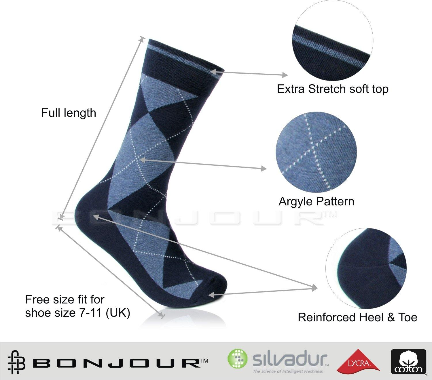 Men's Classic Argyle Formal Multicoloured Crew Length Socks- pack of 3