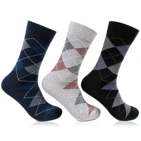 Men's Argyle Style Multicolored Designer Crew Length Socks - pack of 3