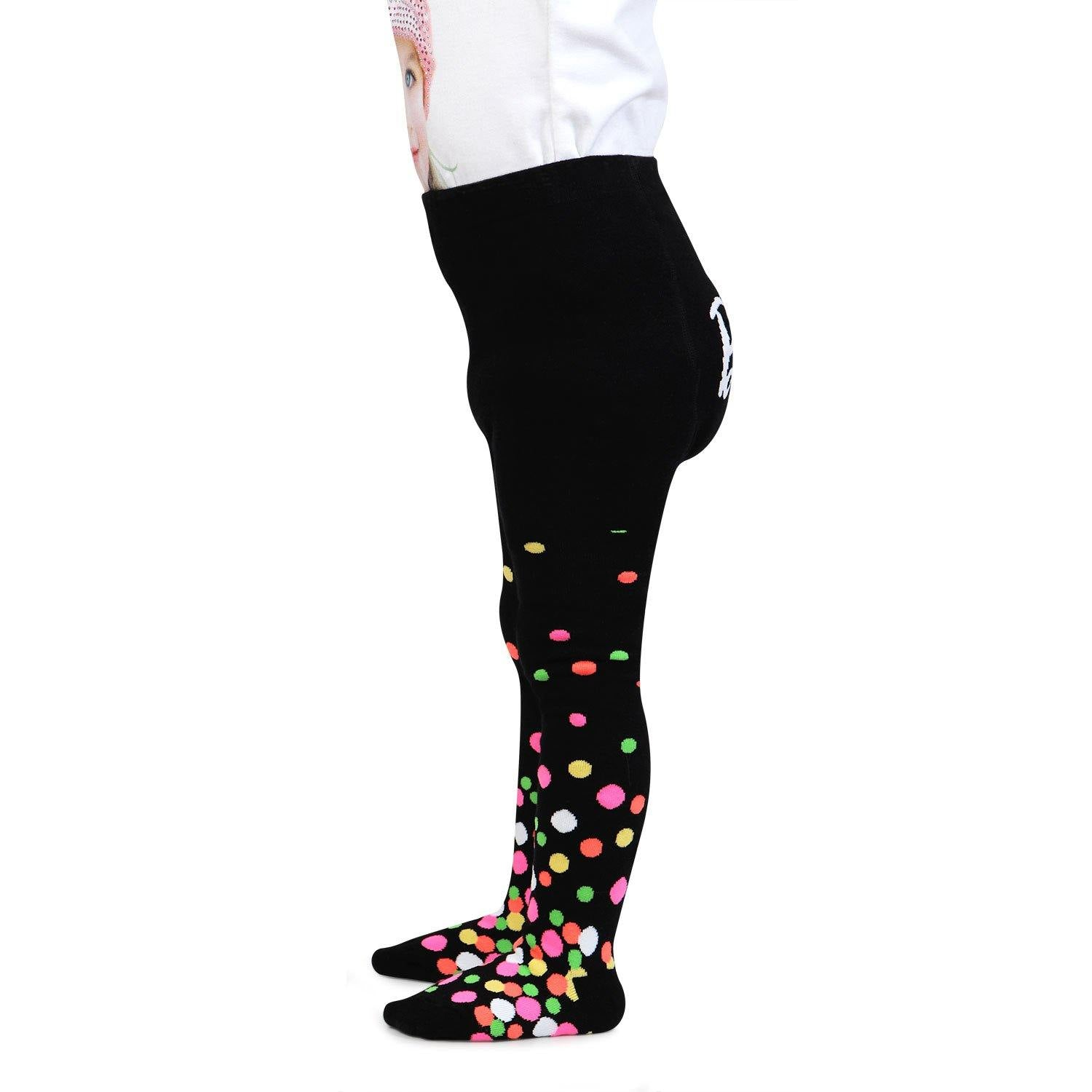 Barbie Cute Prints Knitted Tights for Baby Girls - Black