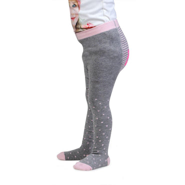 Barbie Cute Prints Knitted Tights for Baby Girls - Light Grey