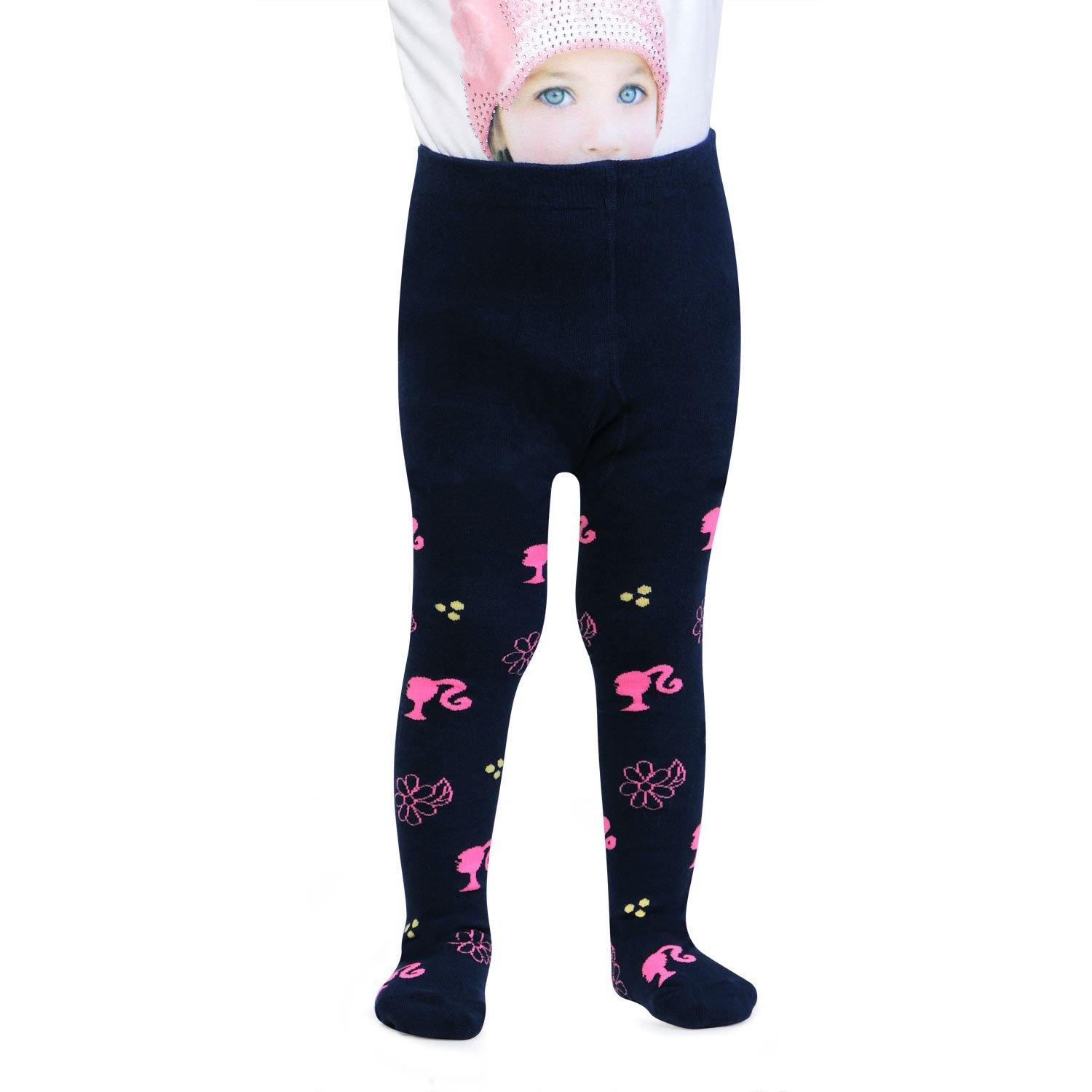 Barbie Cute Prints Knitted Tights For Baby Girls - Navy Pink