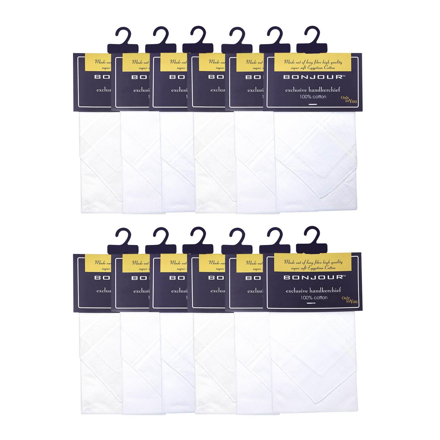 Men's Formal Cotton Handkerchief in White -Pack of 12
