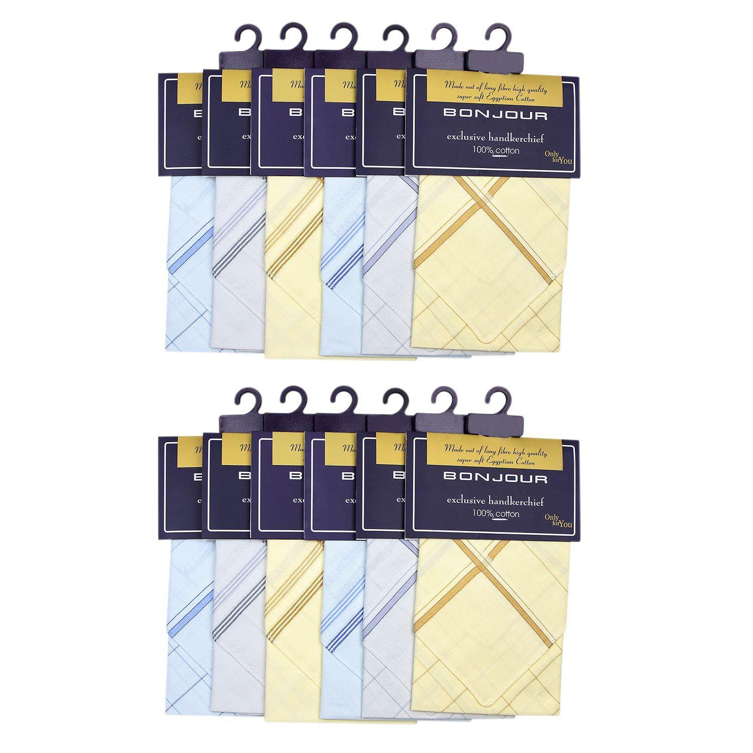 Men's Cotton Handkerchief in Pastel Colours-Pack of 12