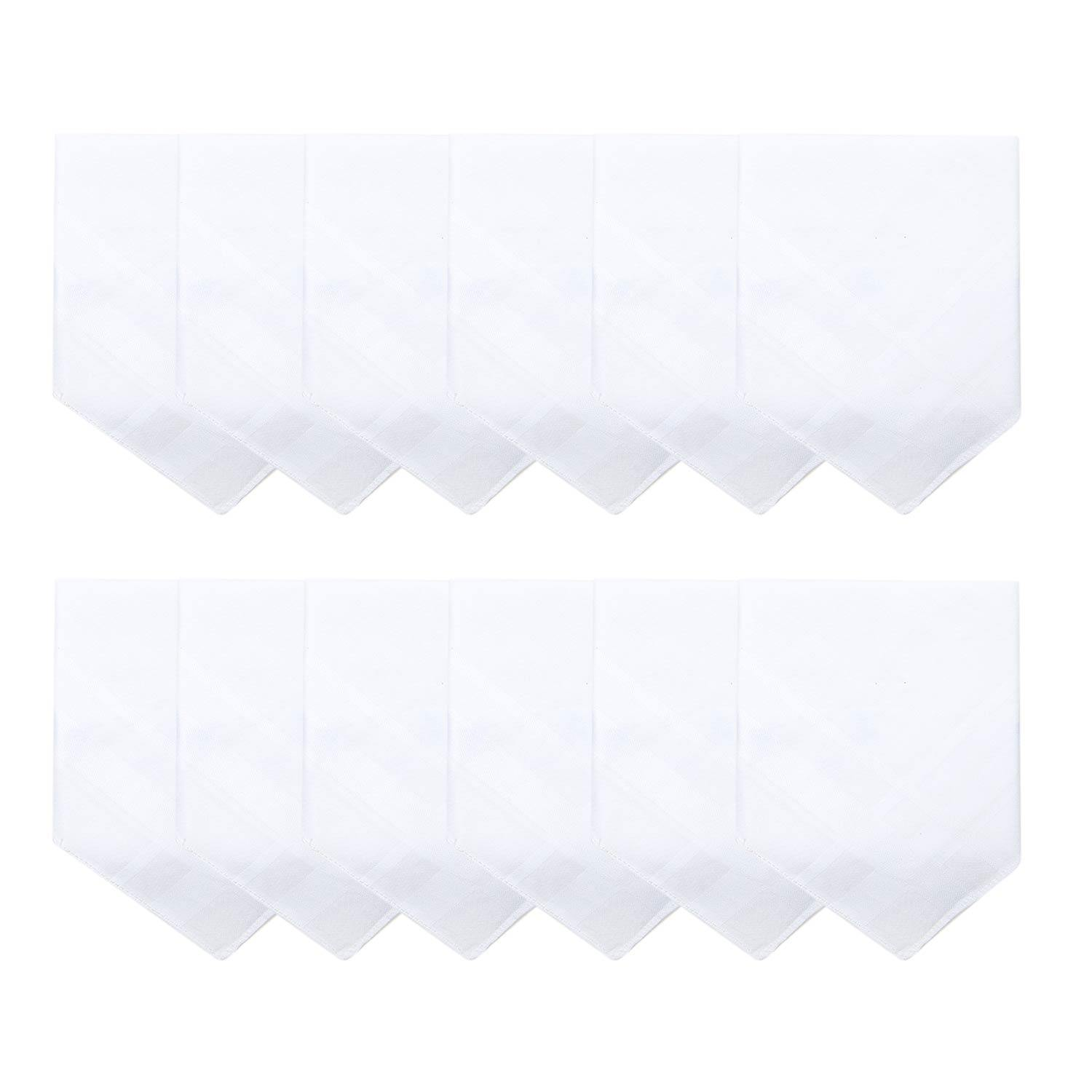 Men's White Cotton Handkerchief With Self Design-Pack of 12