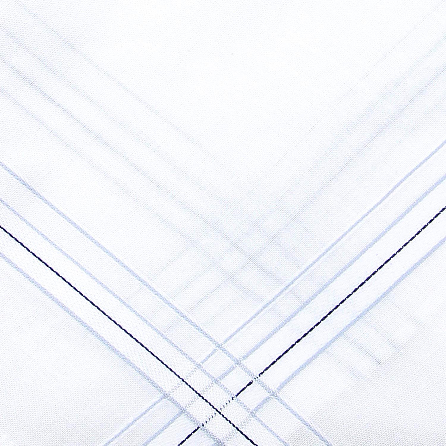 Men's Cotton White Handkerchief with  Stripe-Pack of 12
