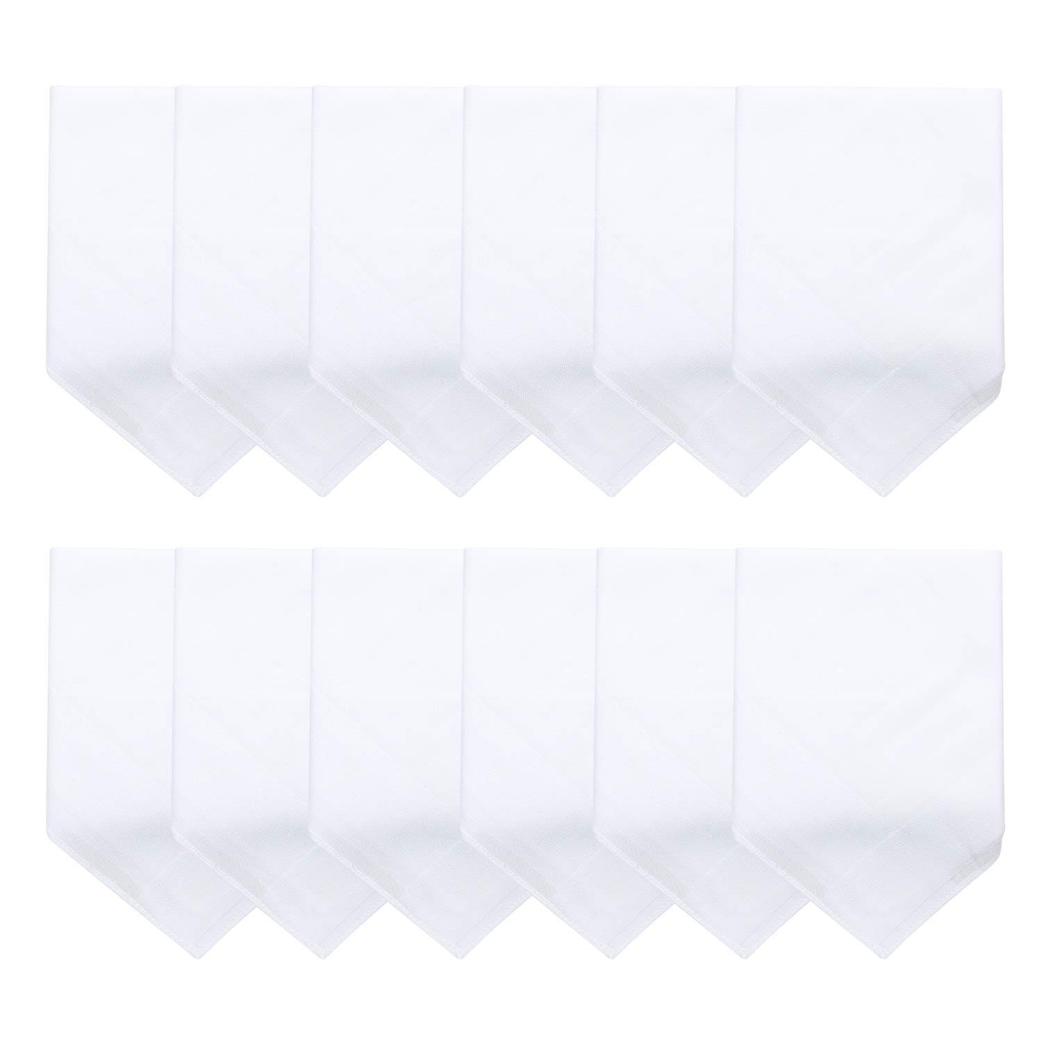 Men's Cotton Handkerchief in White with White Stripes-Pack of 12