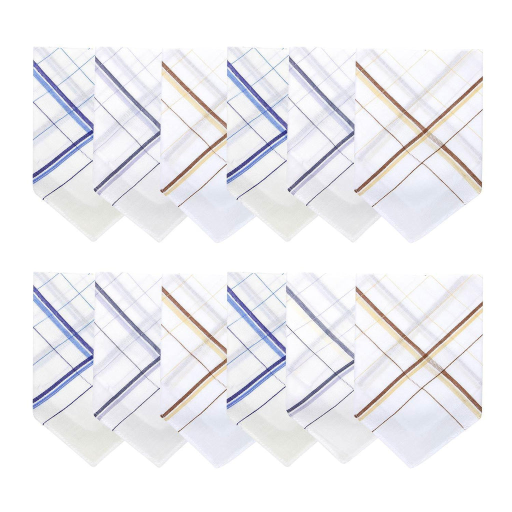 Men's Cotton Handkerchief  White with Colorful Stripes-Pack of 12