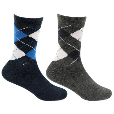 Kids Argyle Multicoloured Woolen Crew Length Socks- Pack of 2