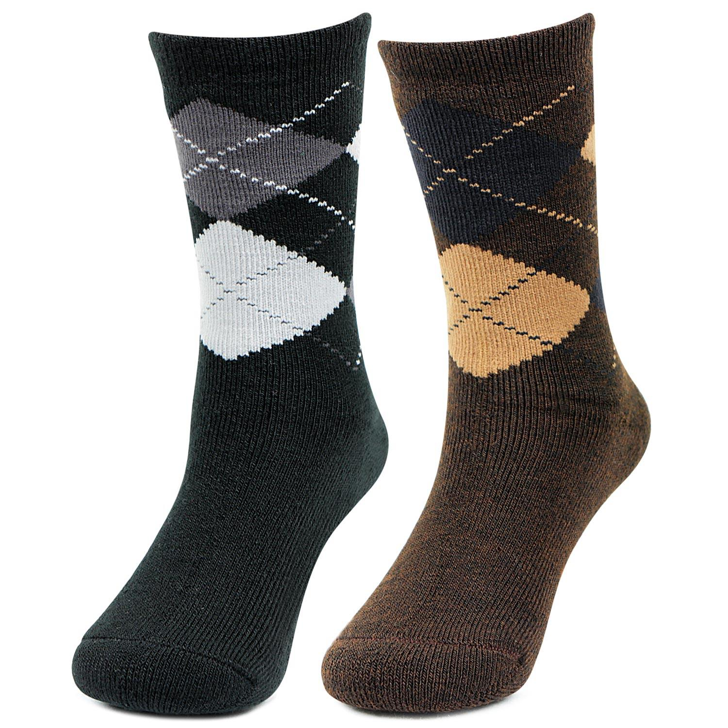Kids Argyle Pattern Multicolored Woolen Crew Socks- Pack of 2