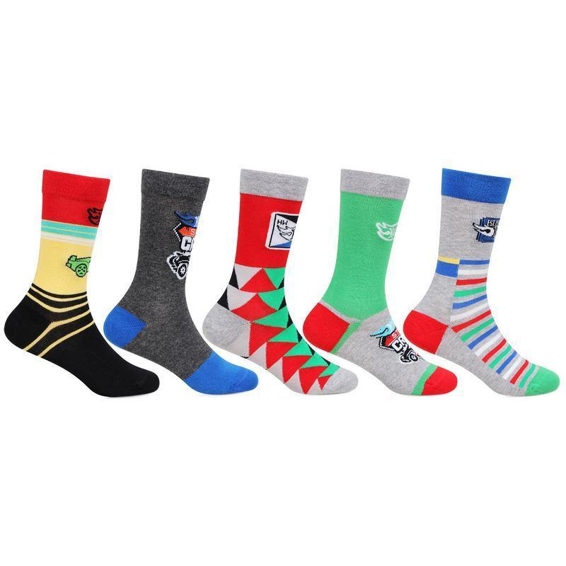 Hot Wheels Kids Fancy Crew Length Socks (Abstract Designs)- Pack of 5