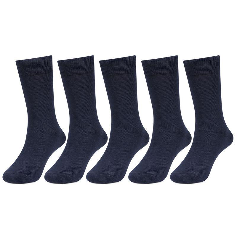 Kids Plain Navy Cotton School Socks - Pack of 5