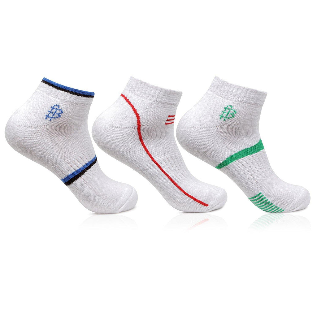 Men's Cushioned White Secret Length Sports Socks- Pack of 3