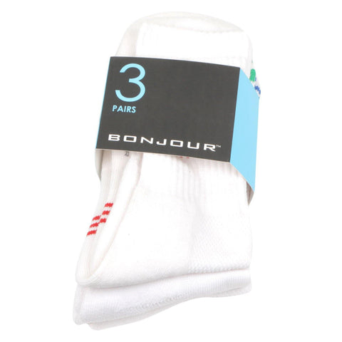 Men's Cushioned White Sports Crew Length Socks- Pack of 3