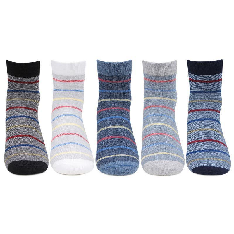 Gen X Striped Cotton Ankle Socks for Young Boys - Pack of 5