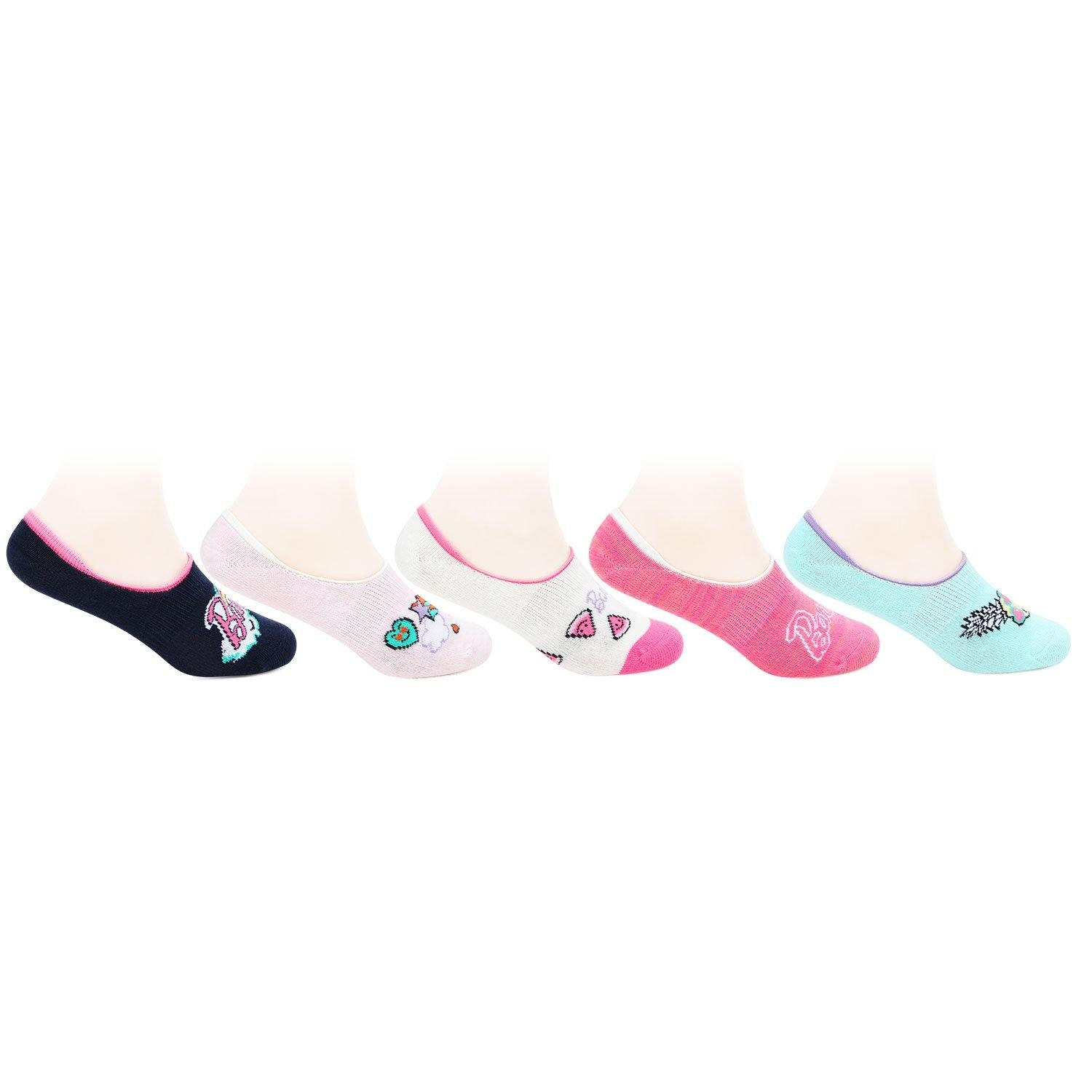 Barbie Cute Prints Fancy Multicoloured Loafer Socks for Kids- Pack of 5