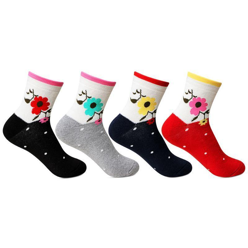 Women's Multicolored Cotton Ankle Socks (Flower Print) - Pack of 4