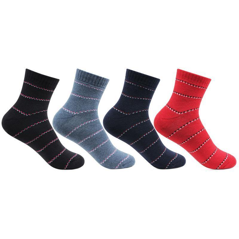 Women's Fashion Multicoloured Cotton Ankle Socks- Pack of 4