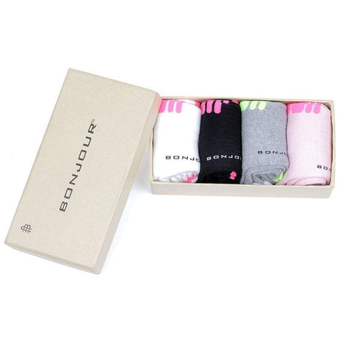 Women's Multicolored Cushioned Gym and Sports Socks- Pack of 4