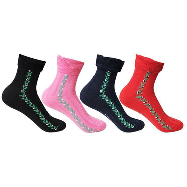 Women's Multicolored Ankle Sock (Frilly Floral Lace)- Pack of 4