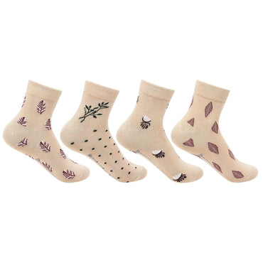 Women's  Ankle Socks In Skin Color - Pack of 4