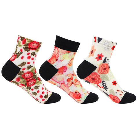 Women's Floral Design Fantasy Socks - Pack of 3