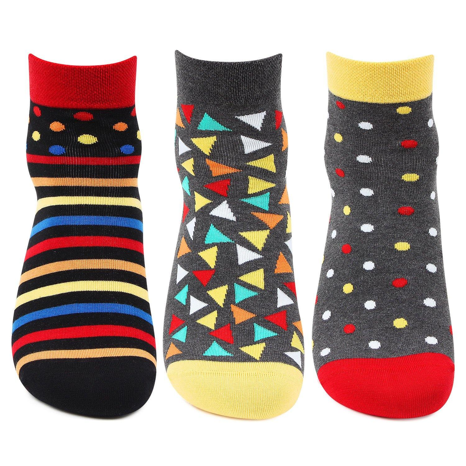 Men Multicolored Polka, Stripes, Geometrical Design Ankle Bold Socks-Pack of 3