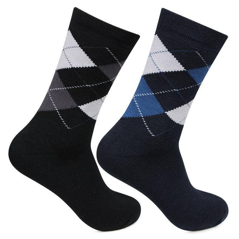 Men's Classic Argyle Multicolored Woolen Socks- Pack of 2
