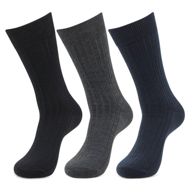 Men's Rib Multicoloured Woolen Crew Socks- Pack of 3