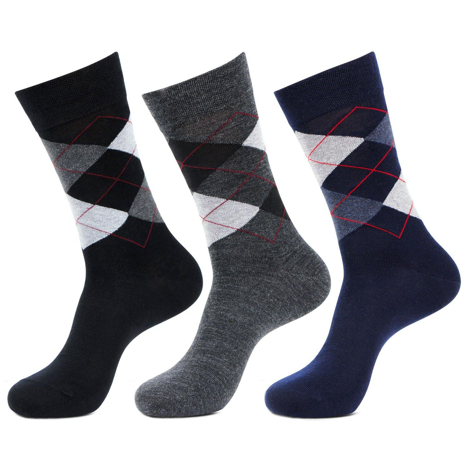 Men's Classic Argyle Multicolored Woolen Socks- Pack of 3