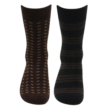 Men's Multicolored Cushioned Woolen Crew Socks - Pack Of 2