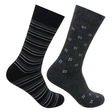 Men's Multicolored Cushioned Crew Woolen Socks - Pack of 2