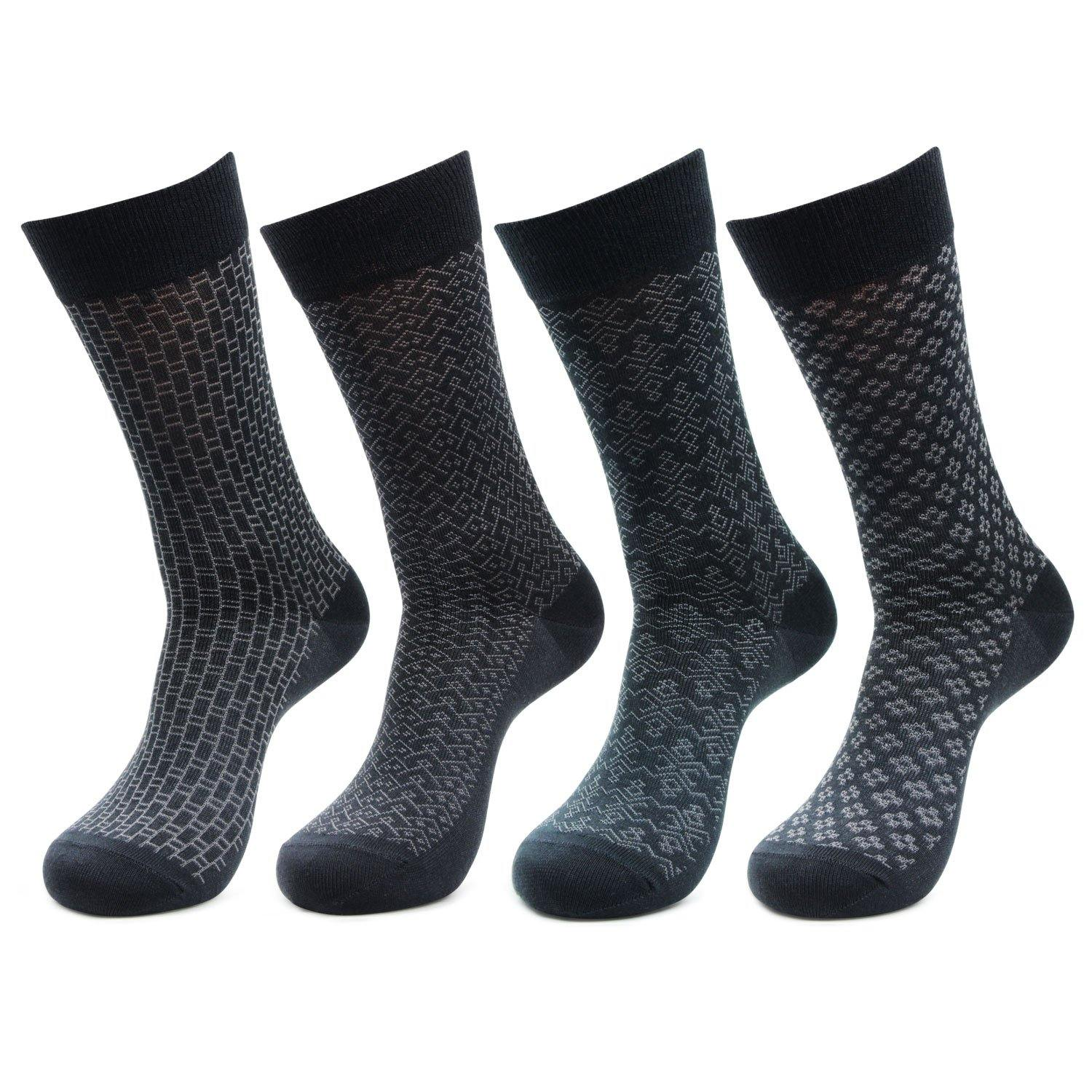 Men's Mercerized Self Design Formal Dress Socks- Pack of 4