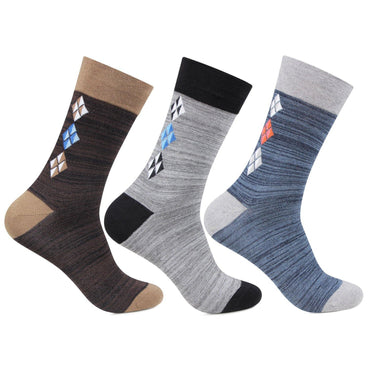 Men's Mercerized Multicolored Dress Socks- Pack of 3