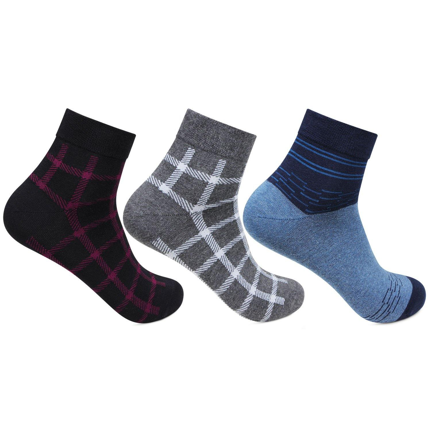 Men's Multicolored Scottish Collection Ankle Socks - Pack of 3