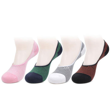 Women's Multicoloured Cotton Loafer Socks- Pack of 4