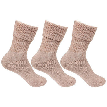 Women's Fawn Woolen Socks -Pack of 3