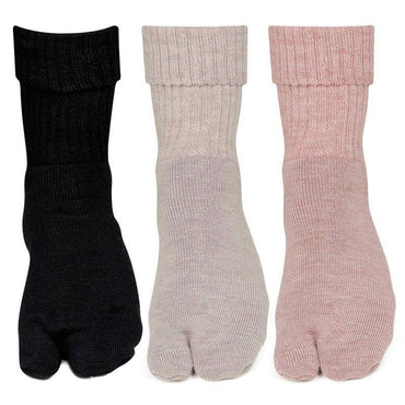Women's Multicolored Woolen Thumb Socks -Pack of 3
