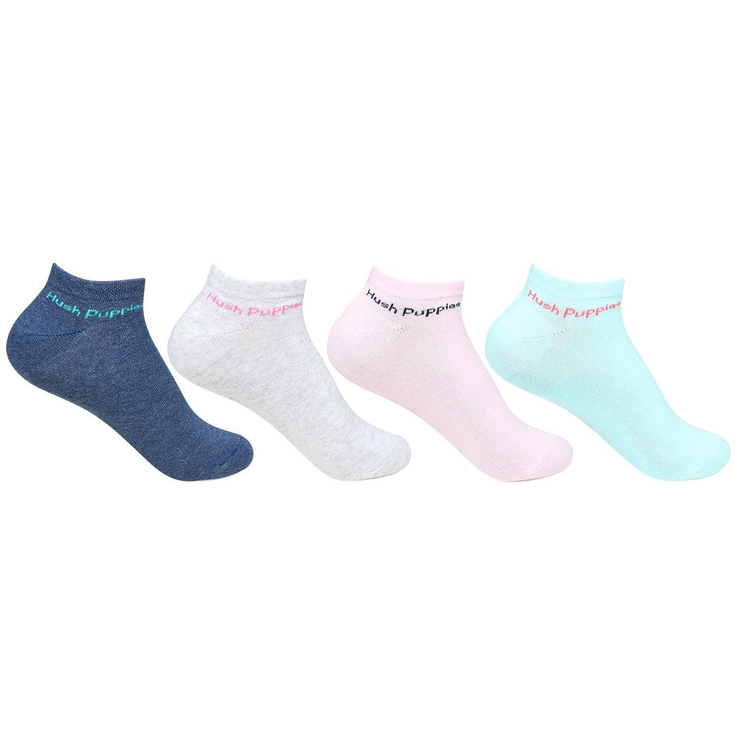 Hush Puppies Women's Cotton Low Ankle Socks - Pack of 4