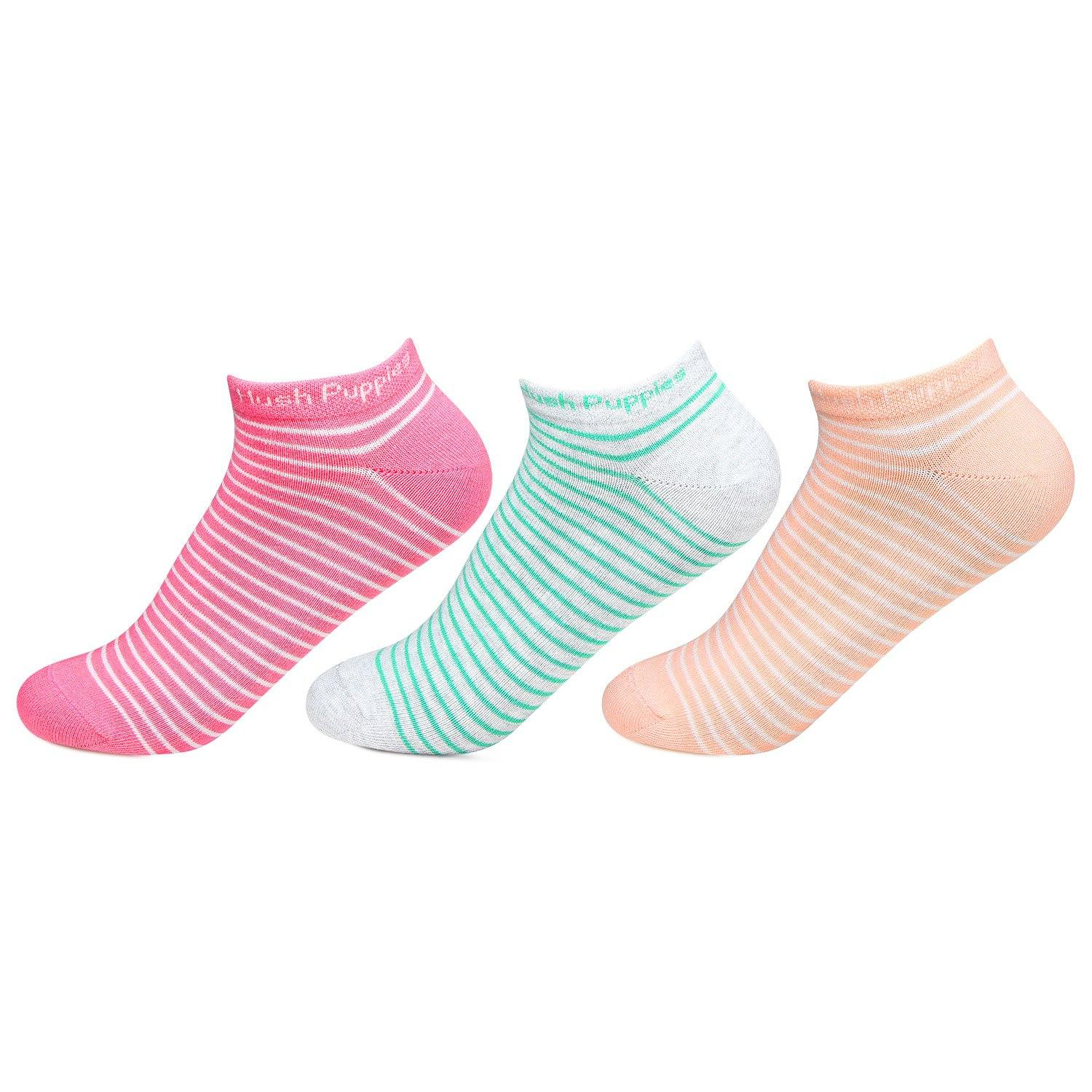 Hush Puppies Women's Stripe Low Ankle Socks - Pack of 3