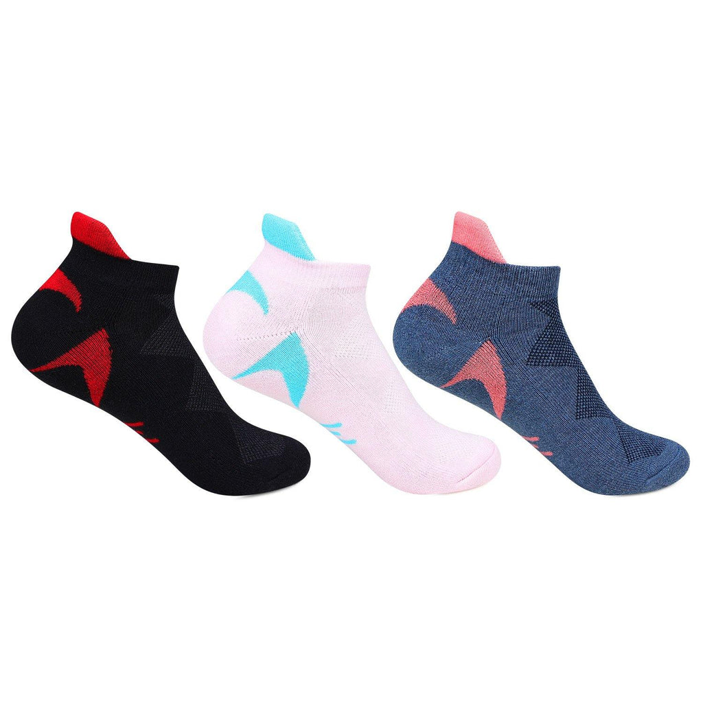 Hush Puppies Women's  Multicolored Cushioned Ankle Socks - Pack of 3