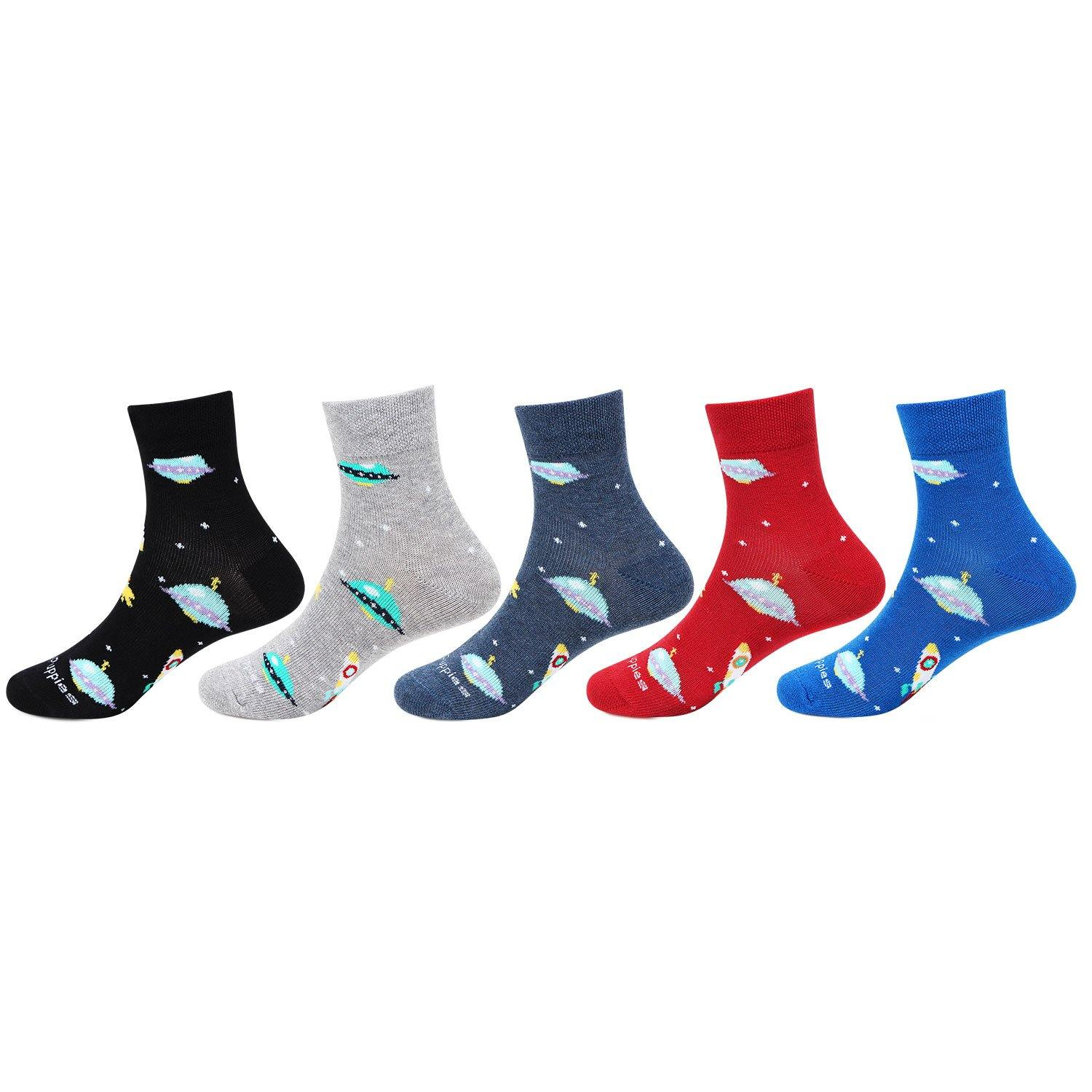 Hush Puppies Funky Rocket - Prints Cotton Ankle Socks For Kids - Pack Of 5