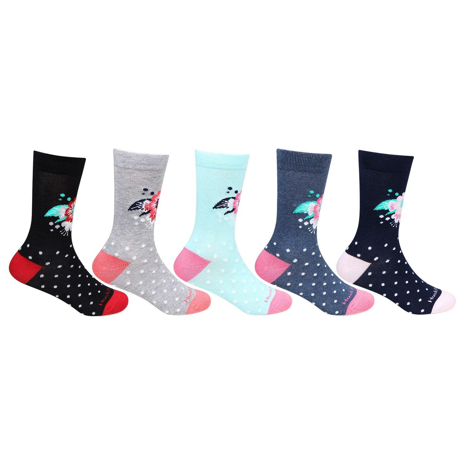 Hush Puppies Cute Floral - Prints Cotton Crew Socks - Pack Of 5